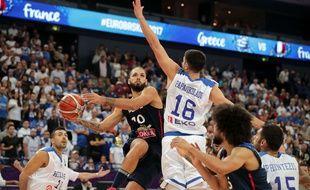 Evan Fournier face à la Grèce lors de l'Euro Basket 2017.