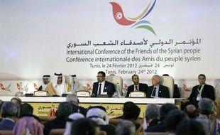 Pendant la conférence des «Amis de la Syrie» à Tunis (Tunisie), le 24 février 2012.
