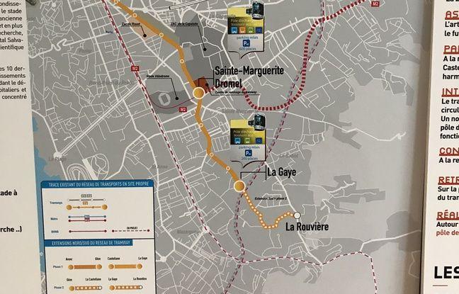 Le tracé du prolongement du tram au sud de Marseille (la phase 2 est en pointillé).