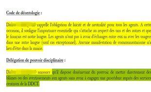 Ces deux paragraphes sont extraits du compte rendu d'une réunion des chefs de services de la mairie du XXe