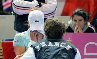 La joueuse de tennis française Alizé Cornet, lors de sa défaite en Fed Cup le 8 février 2009 face à Flavia Penetta.