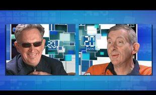 Capture d'écran de l'interview du Président Salengro et de Michael Kael (Benoît Delépine) du Groland.