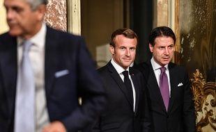 Emmanuel Macron et le premier ministre italien Giuseppe Conte, le 18 septembre 2019 à Rome.