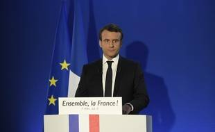 Emmanuel Macron, après la victoire, donne premier discours depuis son GQ dans le 15e arrondissement de Paris, le 7 mai 2017.