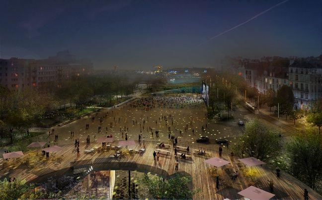 La future place de la Petite-Hollande de nuit et son bâtiment belvédère (dessin d'intention).