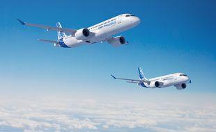 La famille A220 d'Airbus, des monocouloirs de 100 à 150 sièges.