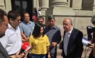 Les proches de Sophie Le Tan et leur avocat Maître Gérard Welzer. Strasbourg le 3 juillet 2019.
