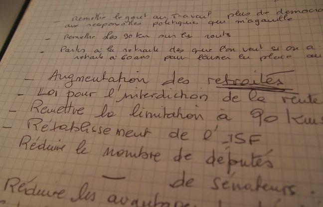 Un extrait du cahier de doléances et de propositions installé en mairie de Saint-Dizier.