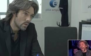 Nicolas Bedos grimé en Aymeric Caron dans «On est pas couché» le 27 juin 2015 sur France 2.