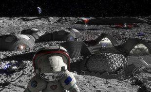 Une vue d'artistes d'une future base lunaire.