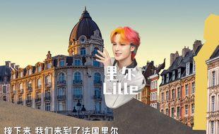 L'influenceur chinois Zhu Zhengting fait la promo de Lille.
