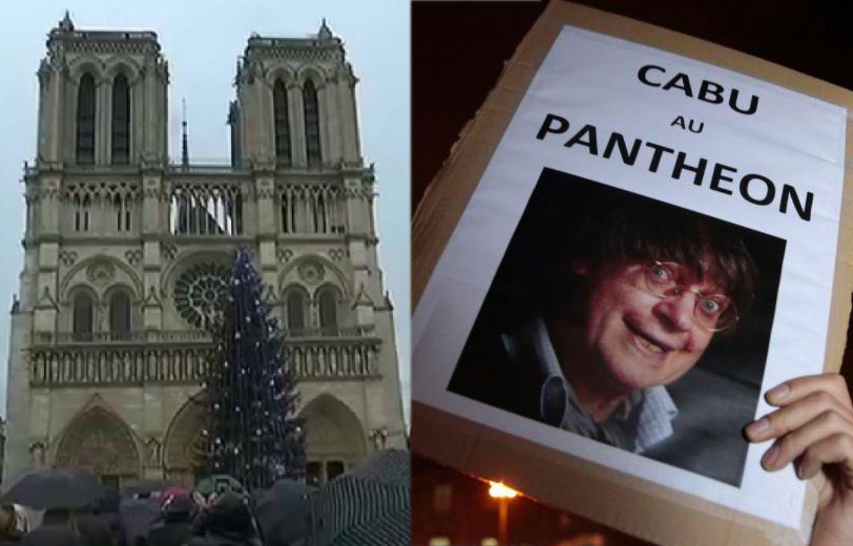 Les cloches de Notre-Dame, le Panthéon, ... autant d'entorses à l'esprit Charlie... – Photomontage 20 Minutes