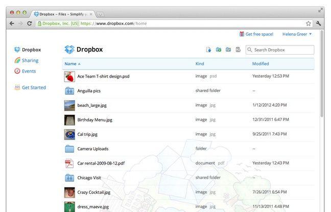 L'interface Web de Dropbox.