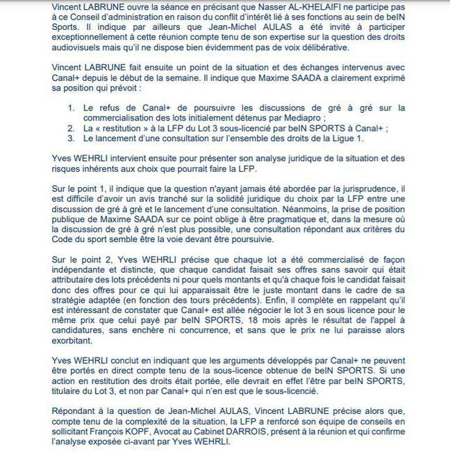 Extrait du PV du conseil d'administration de la LFP du 14 janvier 2021.