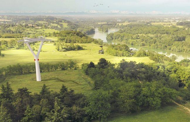 Les pylônes du téléphérique de Toulouse vus des coteaux de Pech-David.