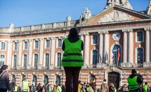 """Des """"gilets jaunes"""" sur le Capitole lors de l'acte 8, le 5 janvier 2019"""