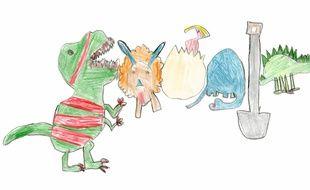 La fillette a imaginé un Doodle de dinosaures.