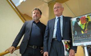 Jean-Michel Djian, président du festival, aux côtés d'Edmond Hervé (à droite), ancien maire de Rennes et président d'honneur du festival.