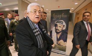 Mahmoud Abbas arrive au musée Yasser Arafat, à Ramallah, le 11 novembre 2014.