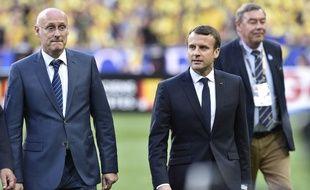 Bernard Laporte et Emmanuel Macron, le 4 juin 2017 au Stade de France pour la finale du Top 14.