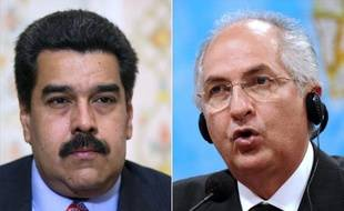 Photo montage avec à gauche le président socialiste Nicolas Maduro et à droite le maire de Caracas, opposant au premier, Antonio Ledezma