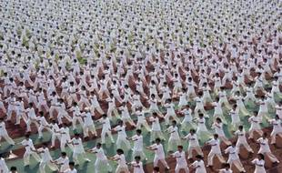 Répétition de la grande démonstration de Tai Chi qui ouvrira la cérémonie lors des Jeux olympiques de Pékin en 2008, Xuzhou, le 23 septembre 2007.