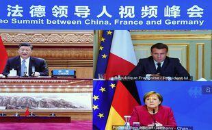 La précédente visioconférence le 16 avril 2021 entre Xi Jinping, Emmanuel Macron et Angela Merkel.
