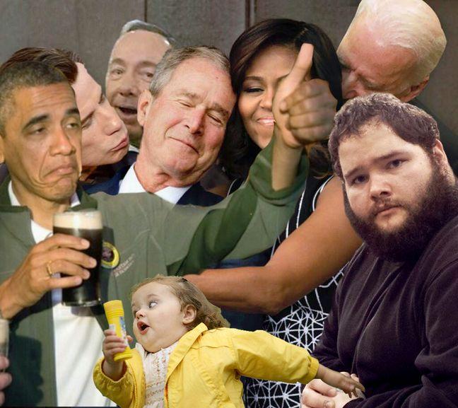 Détournement de la photo de Michelle Obama et George W. Bush.