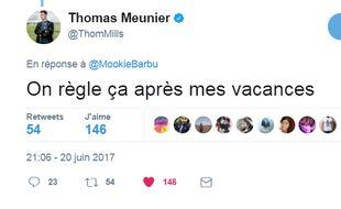 Thomas Meunier tape la discute avec un supporter parisien sur Twitter.