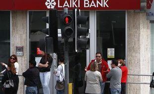 Une agence de Laiki Bank fermée à Nicosie, le 21 mars 2013