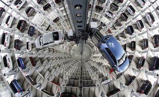 La tour Volkswagen à Wolfburg en Allemagne.