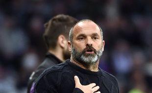 L'entraîneur du TFC Pascal Dupraz pendant le match de Ligue 1 contre Saint-Etienne, le 29 octobre 2017 au Stadium de Toulouse.