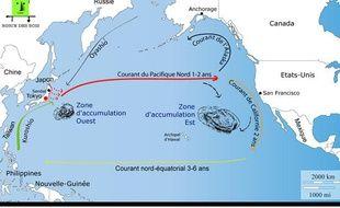 L'association Robin des Bois a calculé, en fonction des courants marins, les zones où vont s'accumuler les déchets emportés par le Tsunami