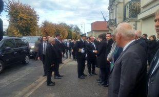 Arrivée de François Hollande à Puisseguin le 27 octobre 2015 pour l'hommage national aux victimes