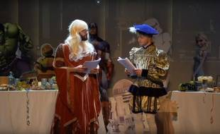 Capture d'écran de la représentation de «Roméo et Juliette» de Squeezie et Cyprien.