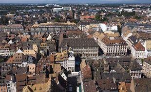 Vue aérienne de Strasbourg.