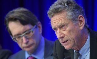 Le conseiller économique et directeur du département de recherches du Fonds monétaire international (FMI) Olivier Blanchard lors d'une conférence de presse sur les perspectives économiques mondiales, au siège du FMI à Washington le 8 avril 2014