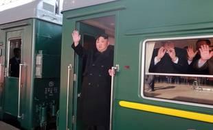 Le train de Kim Jong Un le 23 février 2019 en Chine, avant le deuxième sommet entre le dirigeant nord-coréen et le président américain Donald Trump au Vietnam.