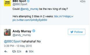 Echange sur Twitter sur BBC Sport et Andy Murray.