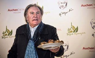 «Quoi !? Il est pas bon mon pâté !?» On n'est pas vraiment sûr que Gérard Depardieu a vraiment dit ça lorsqu'il a présenté sa gamme de produits alimentaires à Moscou, le 27 avril 2018.