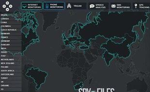 Capture d'écran de «la carte d'un monde espionné», sur le site Owni.fr, le 1 décembre 2011.