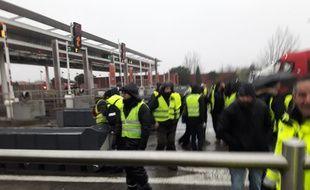 Sur la barrière de péage Toulouse-Nord, le 5 février lors de la manifestations des
