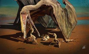Un ptérosaure est ses petits.