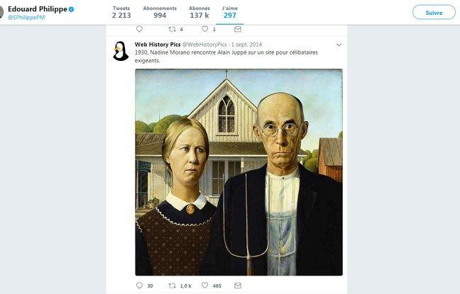 Le tweet liké par Edouard Philippe sur Alain Juppé et Nadine Morano.