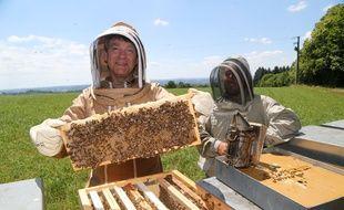 Arnaud Montebourg et l'apiculteur Nicolas Laudoueinex en plein travail, le 29 juin 2018, à Linards.