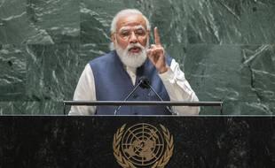 Le Premier ministre indien, Narendra Modi, à la tribune des Nations Unies, à New York le 25 septembre 2021.