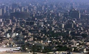 Vue aérienne du Caire, capitale de l'Égypte, le prise le 23 janvier 2000.