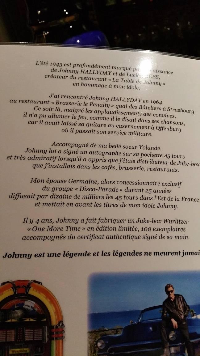 Le mot d'explication des patrons de La Table de Johnny, au dos d'un menu au caveau du restaurant.