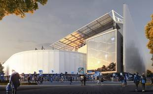 Le futur stade de la Meinau vu depuis l'arrière de la tribune Sud.