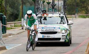 Le coureur de Saujasun Yannick Talabardon, lors du Critérium International le 23 mars 2013.